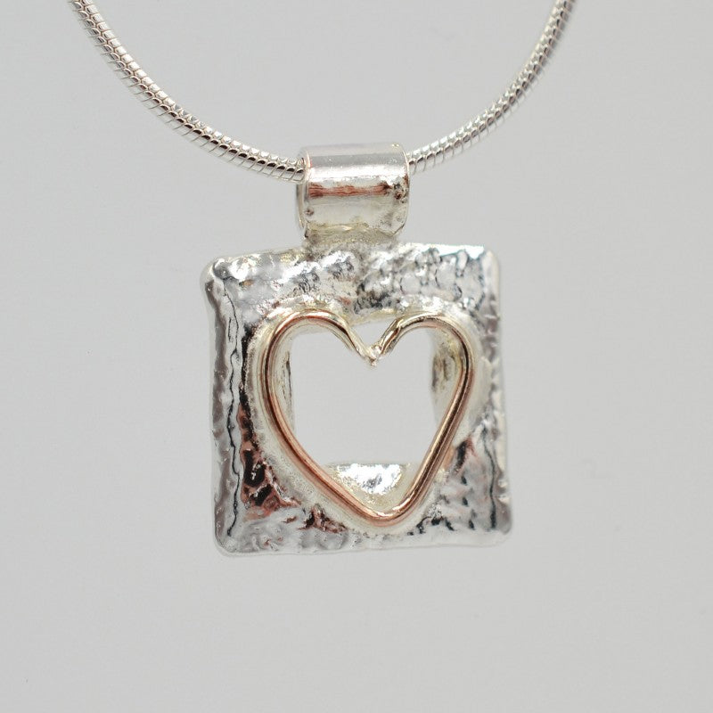 Sally Ratcliffe Silver rose gold wire heart square pendant