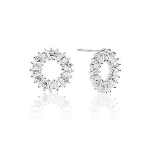 Earrings Sif Jakobs Silver and cubic zirconia Antella circolo stud earrings