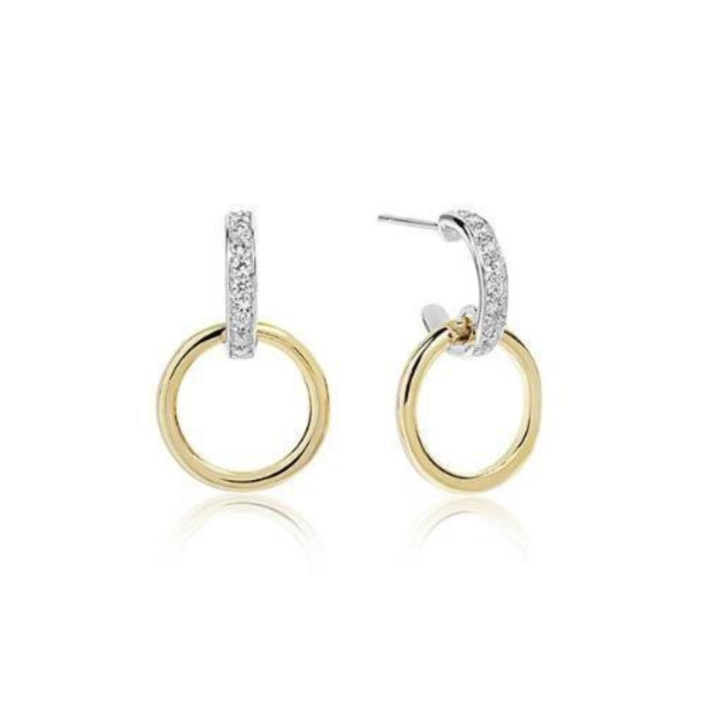 Earrings Sif Jakobs Silver, yellow gold plate and cubic zirconia Itri hoop stud earrings