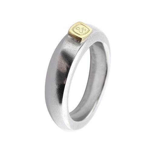 Ring Silver and 18ct yellow gold logo ring