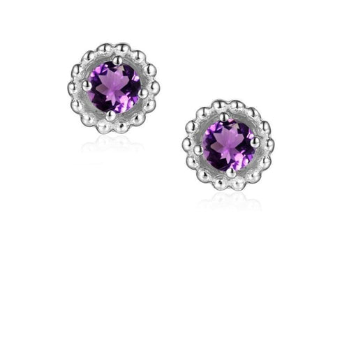 Earrings Silver and Amethyst 3mm round beaded stud earrings