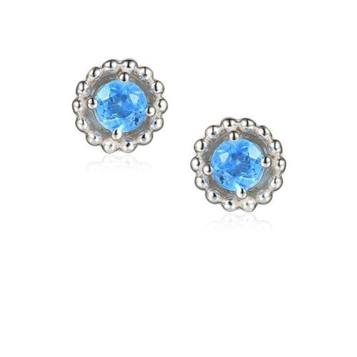 Earrings Silver and Blue Topaz 3mm round beaded stud earrings