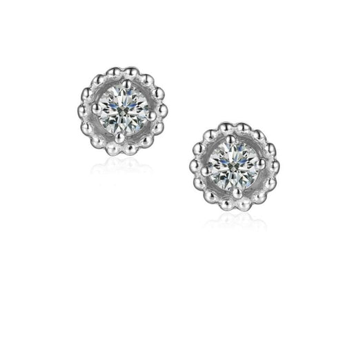 Earrings Silver and Cubic Zirconia 3mm round beaded stud earrings