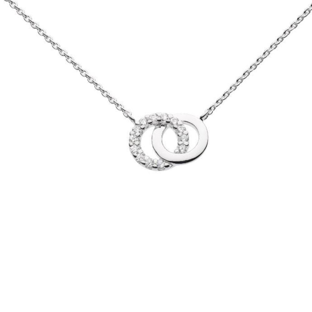 Necklace Silver and cubic zirconia double hoop necklace