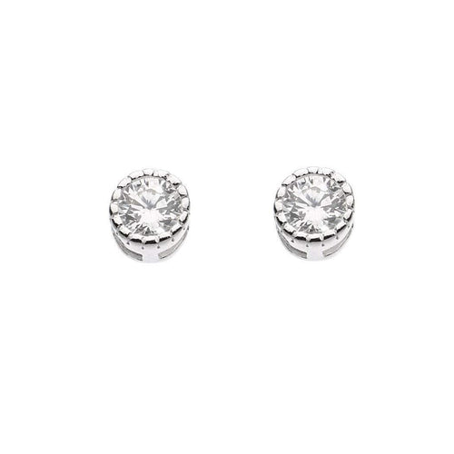 Earrings Silver and cubic zirconia tiny round stud earrings