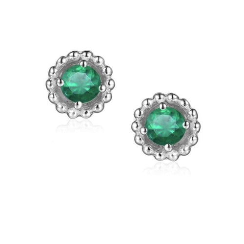 Earrings Silver and Emerald 3mm round beaded stud earrings