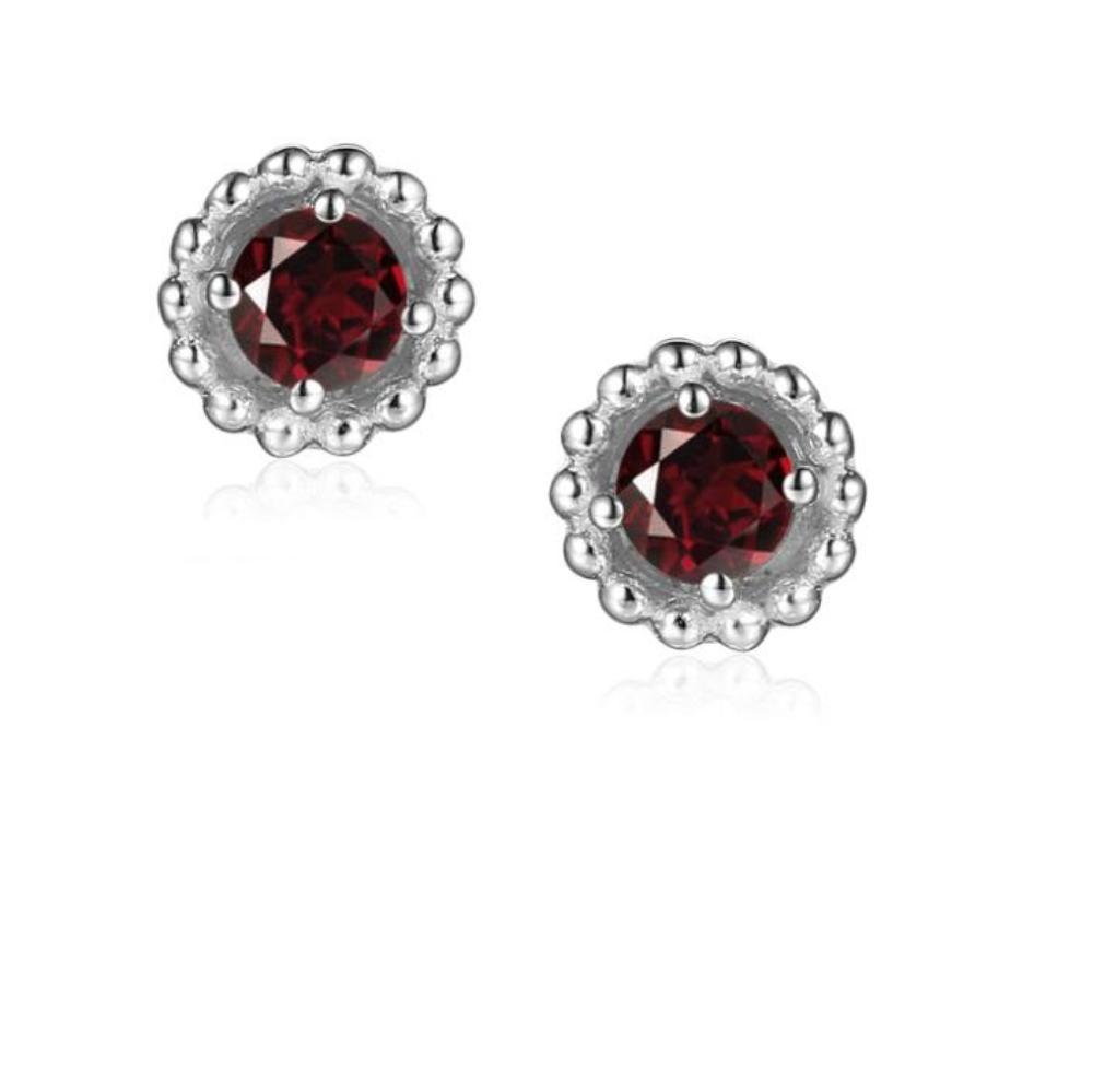 Earrings Silver and Garnet 3mm round beaded stud earrings