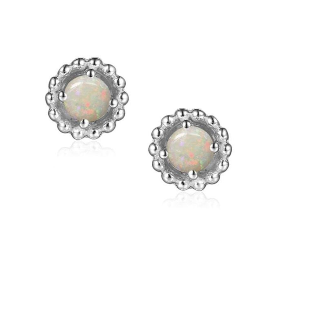 Earrings Silver and Opal 3mm round beaded stud earrings