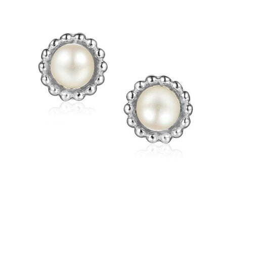 Earrings Silver and Pearl 4mm round beaded stud earrings