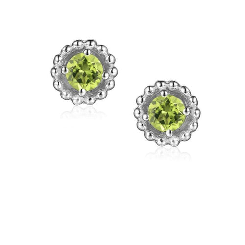 Earrings Silver and Peridot 3mm round beaded stud earrings