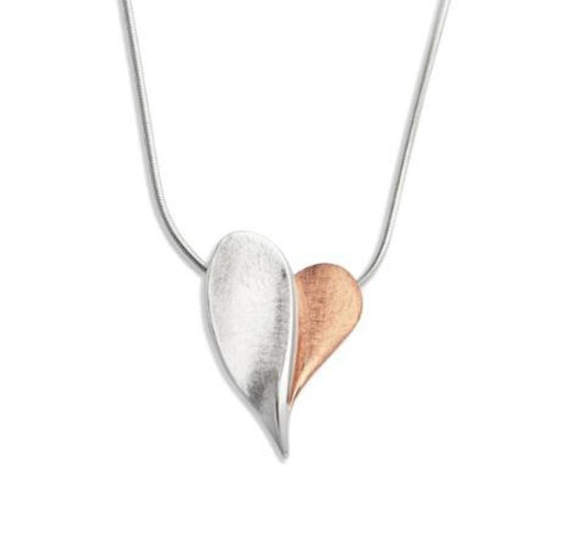 Pendant Silver and rose gold detailed heart pendant