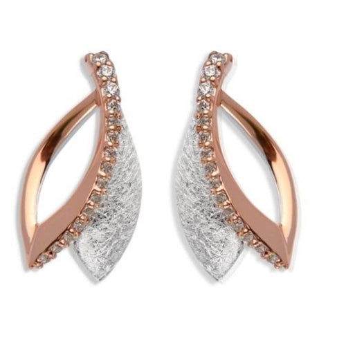 Earrings Silver and rose gold double petal stud earrings set with cubic zirconia