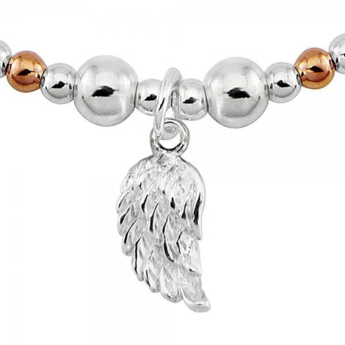 Bracelet Silver and rose gold plate mixed angel wing bracelet