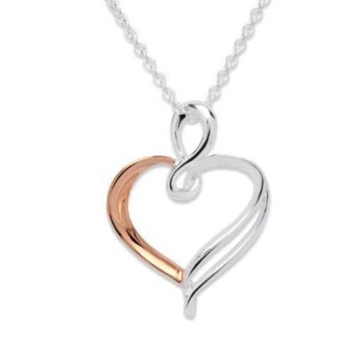 Pendant Silver and rose gold wire heart pendant