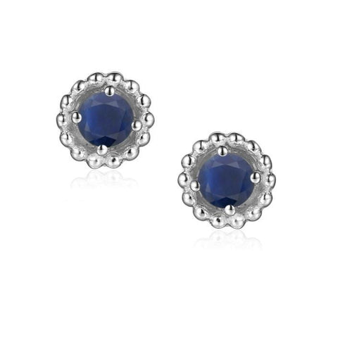 Earrings Silver and Sapphire 3mm round beaded stud earrings