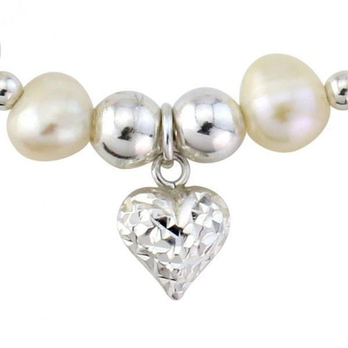 Bracelet Silver and white pearl heart bracelet