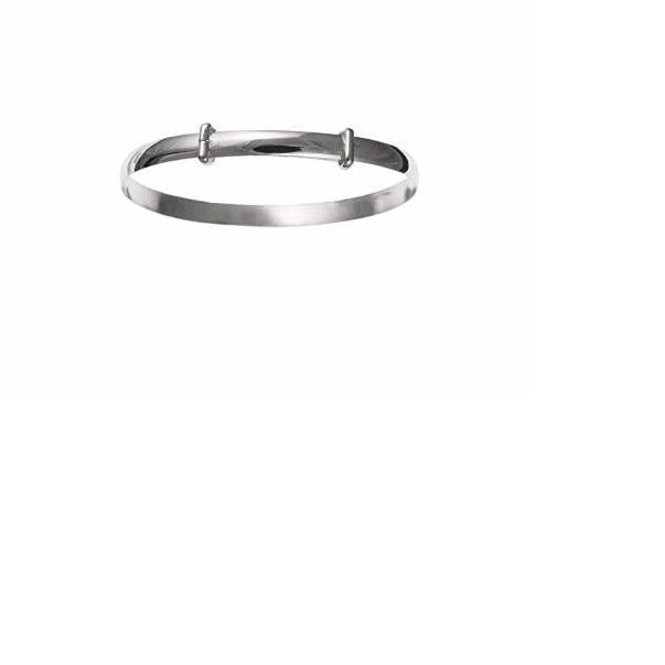 Bangle Silver childs plain D shaped bangle