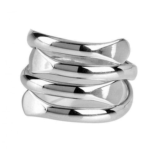Ring Silver coiled flat ring