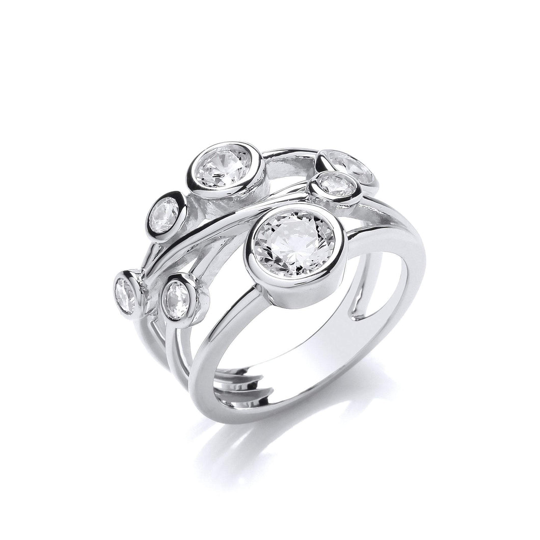 Ring Silver cubic zirconia bubble strands ring