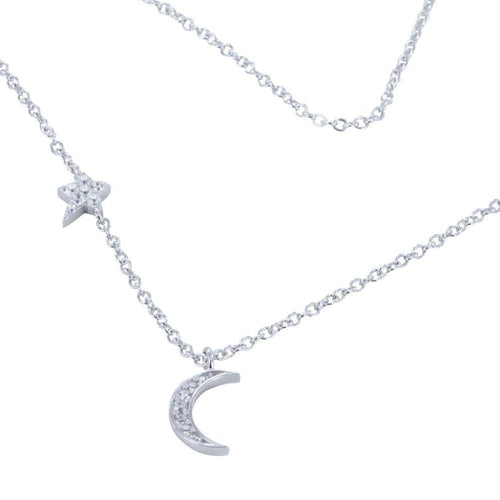 Necklace Silver cubic zirconia moon and stars necklace