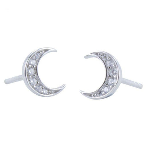 Earrings Silver cubic zirconia moon stud earrings