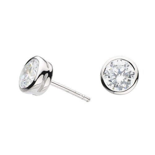 Earrings Silver CZ large stud earrings
