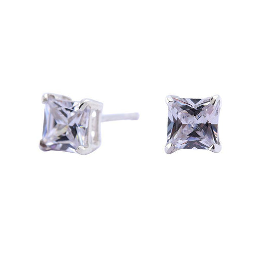 Earrings Silver CZ square stud earrings