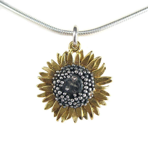 Pendant Silver gold oxidised medium sunflower pendant