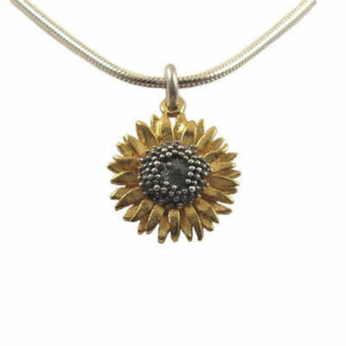 Pendant Silver gold oxidised small sunflower pendant