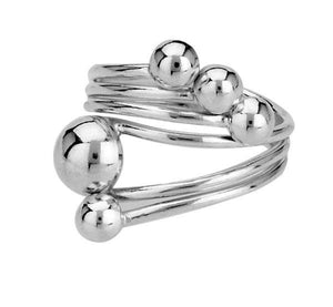 Ring Silver splayed multi bead wide ring