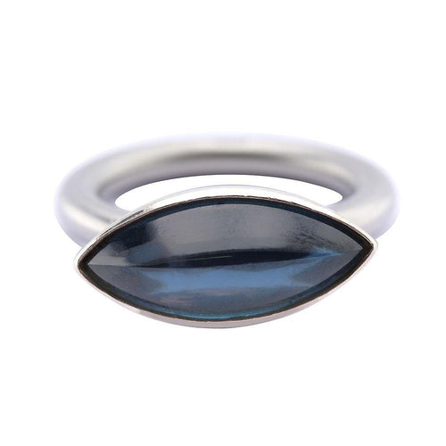 Ring Steel blue cubic zirconia calypso swivel ring