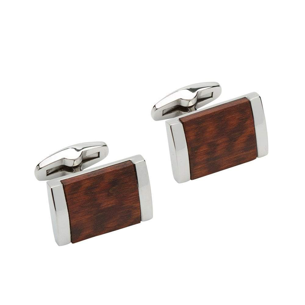 Cufflinks Steel rectangle cufflinks with dark brown wood inlay