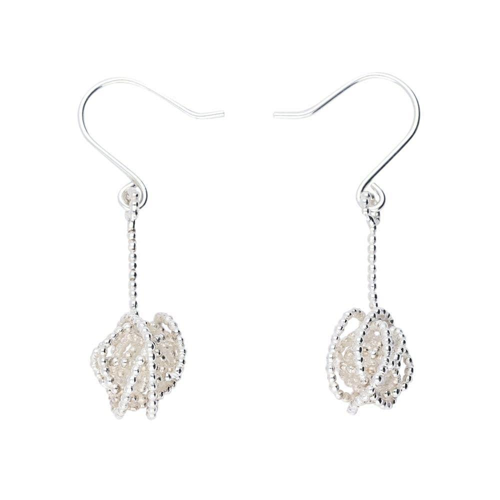 Tara Kirkpatrick Earrings Clarity Silver wirework nest long drop earrings