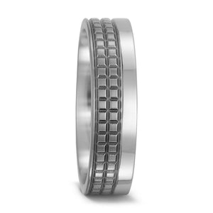 Ring Titanium cubed detailed band