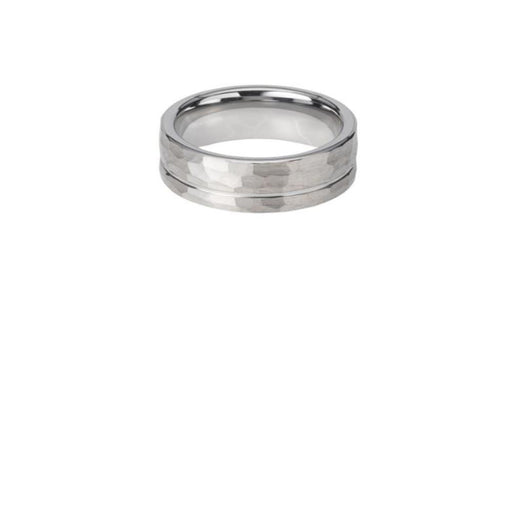 Ring Tungsten Carbide hammered ring