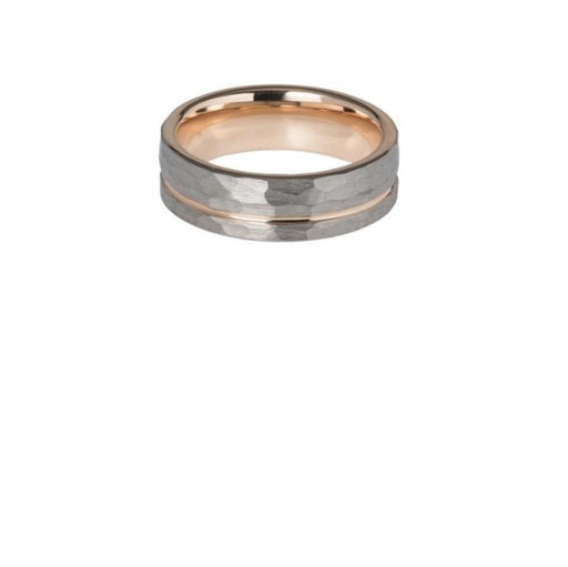 Ring Tungsten carbide hammered ring with rose gold inner