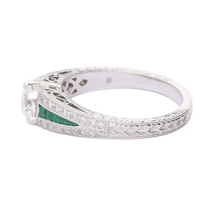 Ring Ungar 18ct white gold diamond tsavorite ring