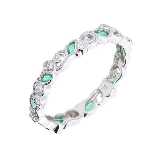 Ungar & Ungar Ring Ungar 18ct white gold emerald diamond floral band