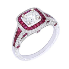 Load image into Gallery viewer, Ungar & Ungar Ring Ungar & Ungar white gold ruby ring set with lucere diamond centre