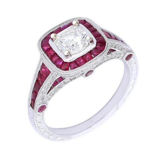 Ungar & Ungar Ring Ungar & Ungar white gold ruby ring set with lucere diamond centre