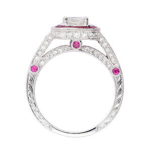 Ring Ungar & Ungar white gold ruby ring set with lucere diamond centre