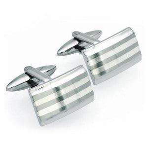 Cufflinks Unique Steel and Silver rectangle cufflinks