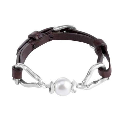 Uno De 50 Bracelet Uno de 50 leather and pearl choper bracelet