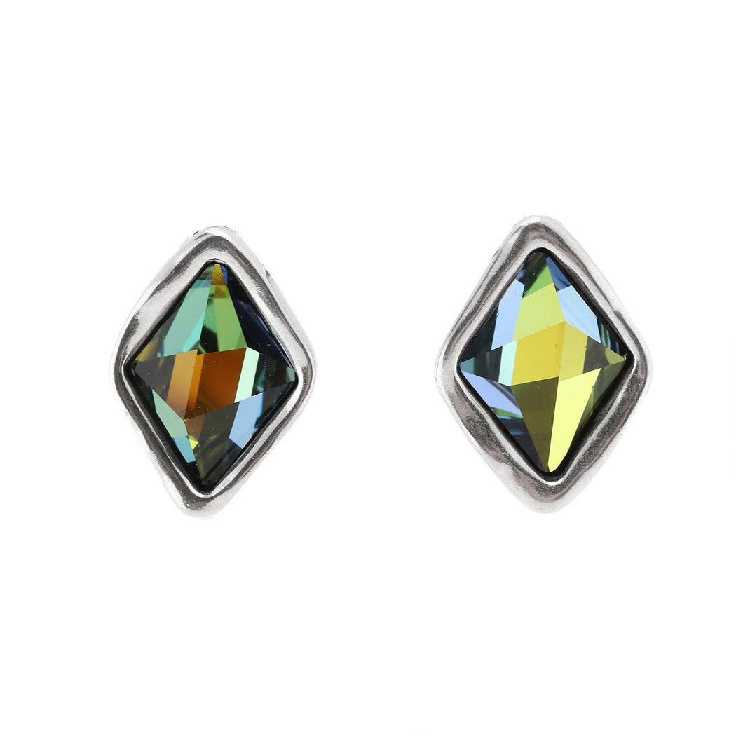 Uno De 50 Earrings Uno De 50 Silver green swarovski stalagmite stud earrings
