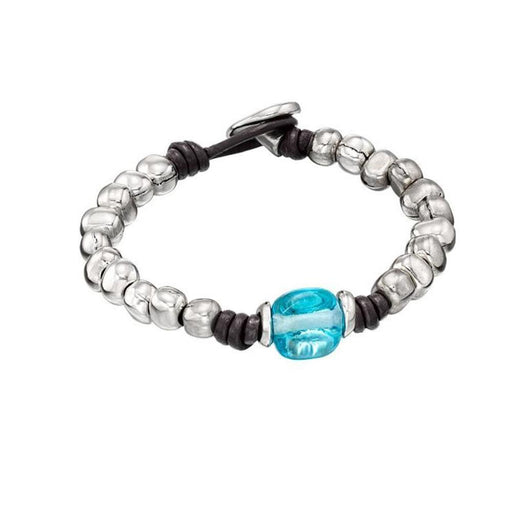 Uno De 50 Bracelet Uno de 50 silver leather glass snowball bracelet