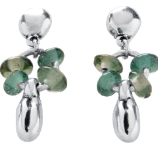 Uno De 50 Earrings Uno de 50 Silver plate and green swarovski roots drop earrings