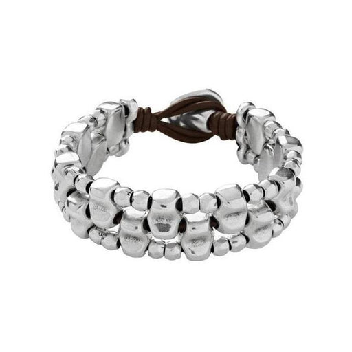 Uno De 50 Bracelet Uno de 50 silver plate and leather lusala bracelet