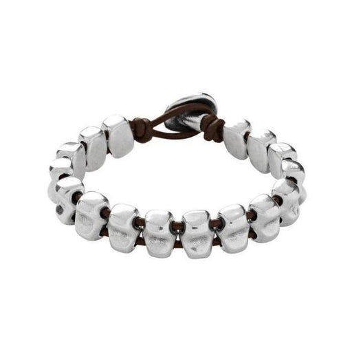 Uno De 50 Bracelet Uno de 50 silver plate and leather mara bracelet