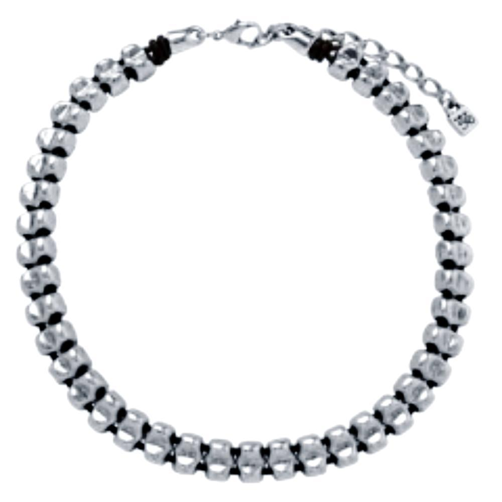 Uno De 50 Necklace Uno de 50 Silver plated bead and leather mara necklace