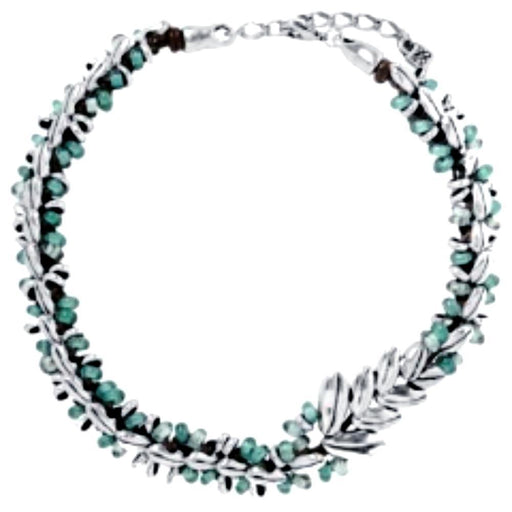 Uno De 50 Necklace Uno de 50 Silver plated leather and green crystal sunrise necklace